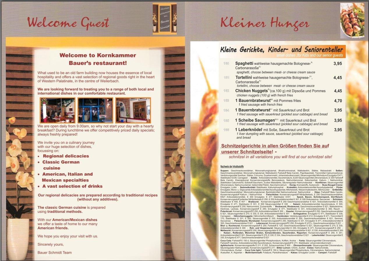 Speisekarte Bauer Schmidt Seite 2
