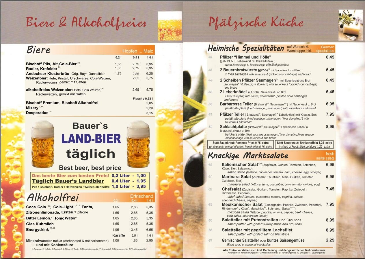 Speisekarte Bauer Schmidt Seite 6