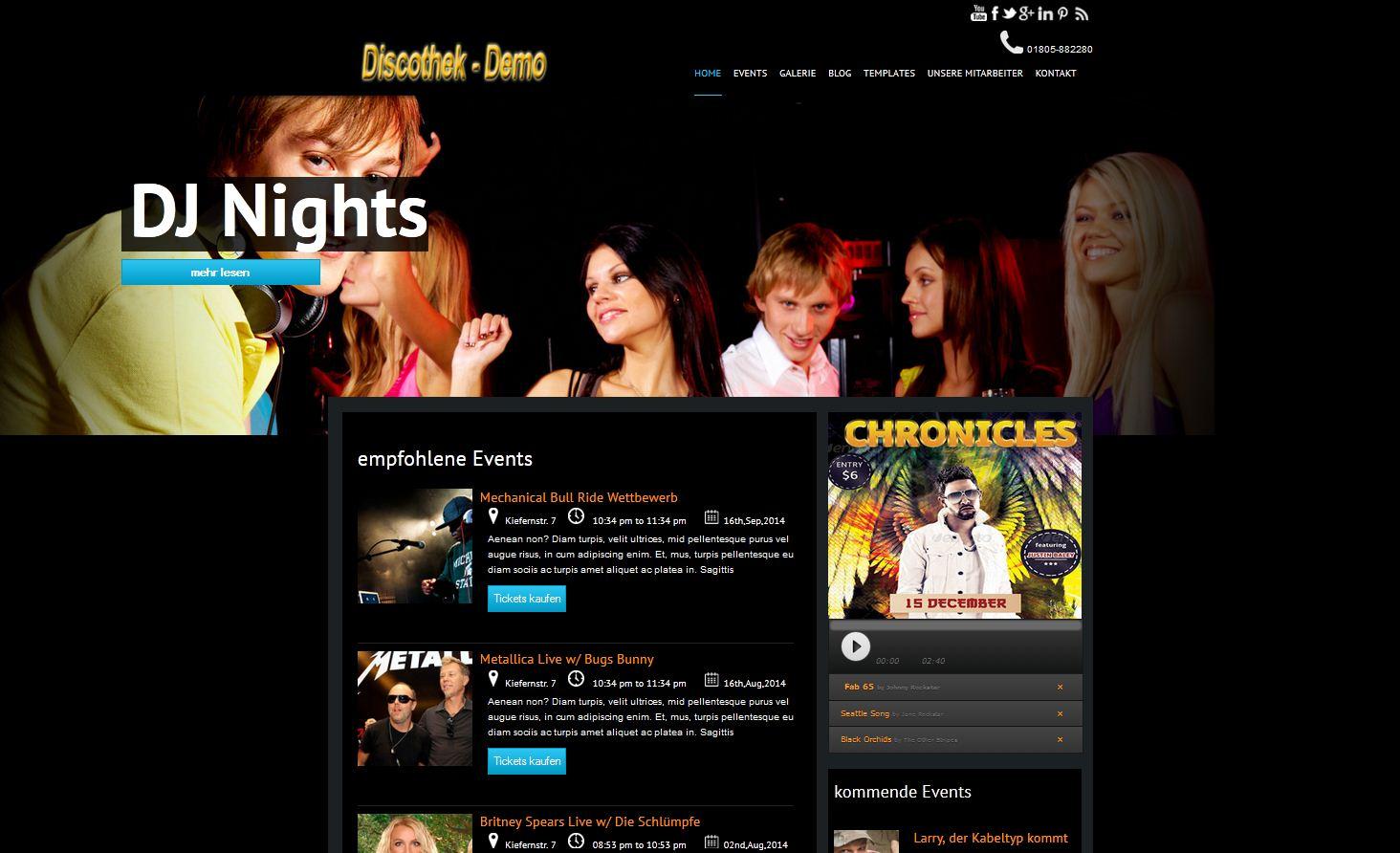 Webseite für Discotheken, Nachtclubs und Eventveranstalter